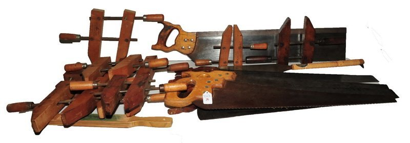 5 Saws and 9 wooden clamps