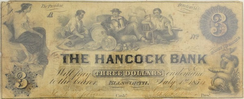 1854 Hancock Maine Obsolete $3 Bank Note
