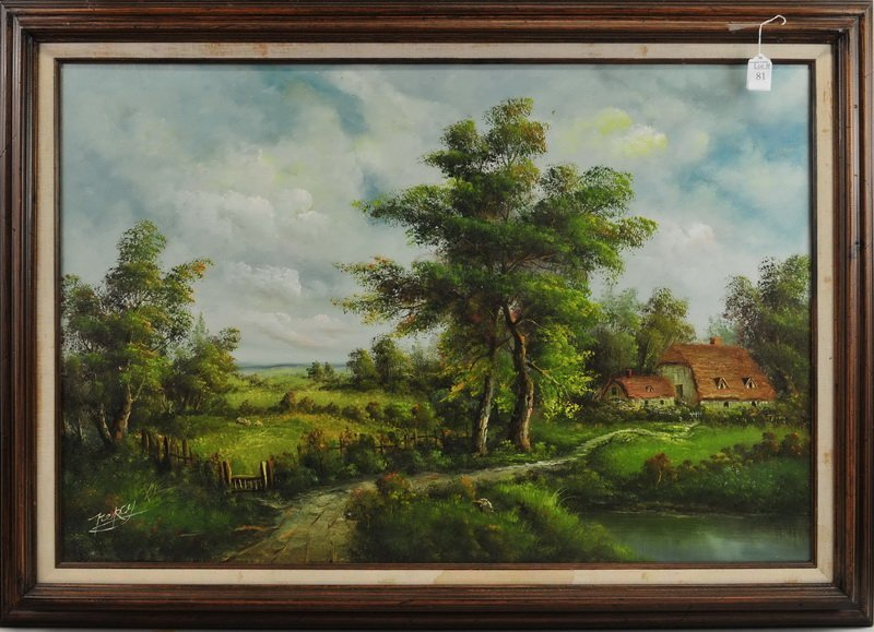 Oil On Canvas Farm Scene By Percy