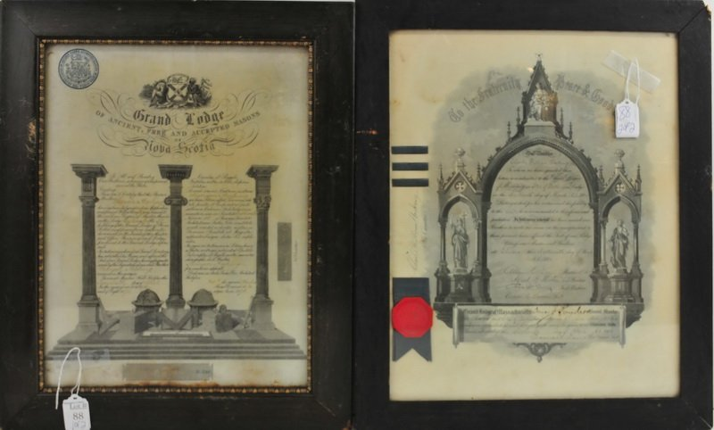 Two Framed Antique Masonic Documents