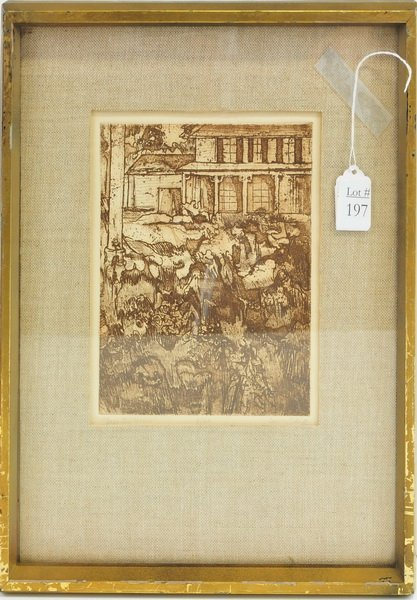 "Vintage Etching ""Deserted House"""