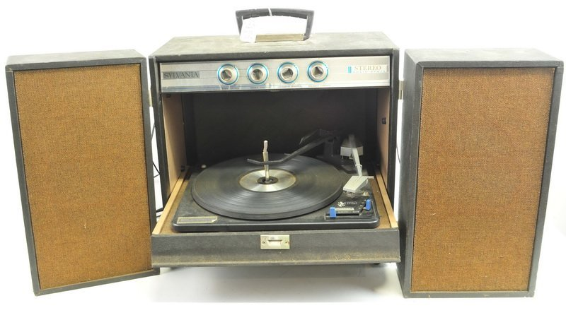 Two Vintage Record Players and Tin Box - 2