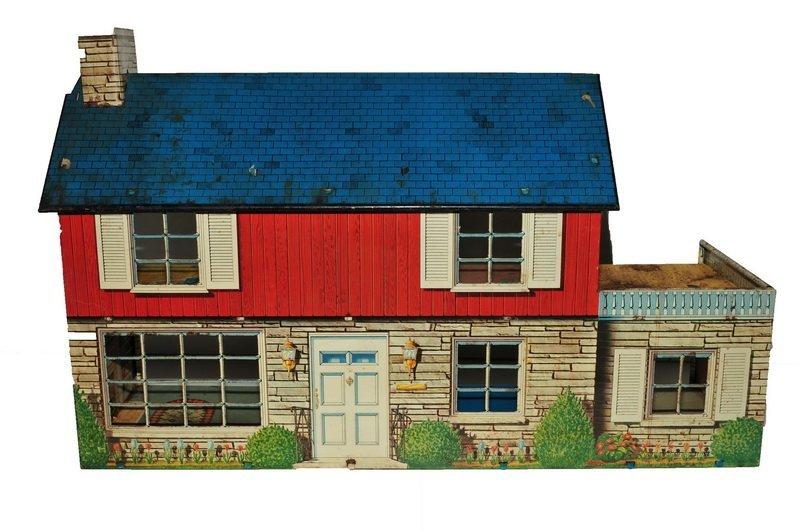 Two Vintage Tin Litho Dollhouses