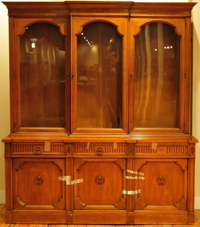 Two piece walnut  veneer china closet