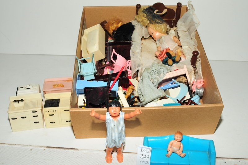 Two Boxes of Doll Toys/Furniture/Dolls