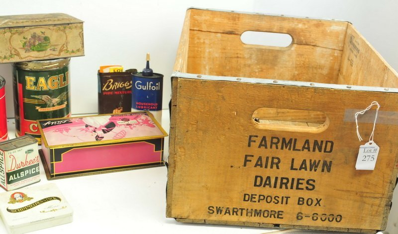 Wooden Dairy box filled with Advertising Tins