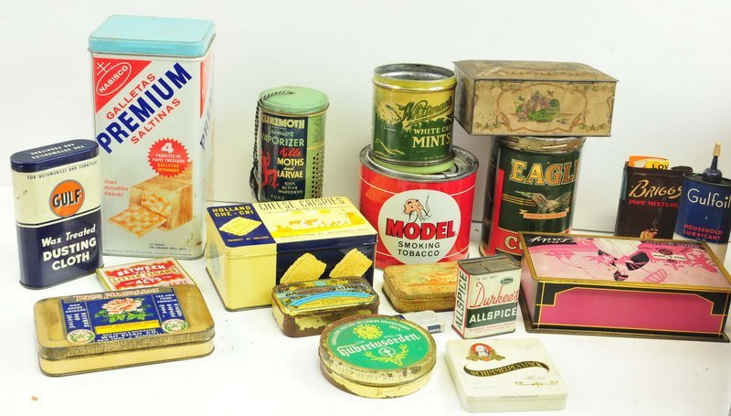 Wooden Dairy box filled with Advertising Tins - 2