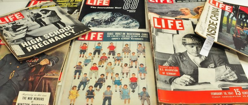 Five boxes of Assorted Life Magazines