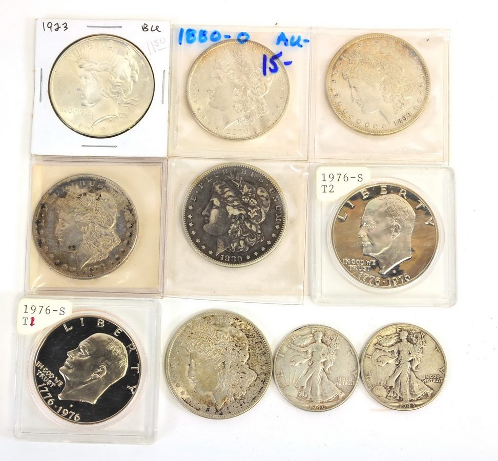 US Silver Coins, Morgan, Peace, Walking Halves