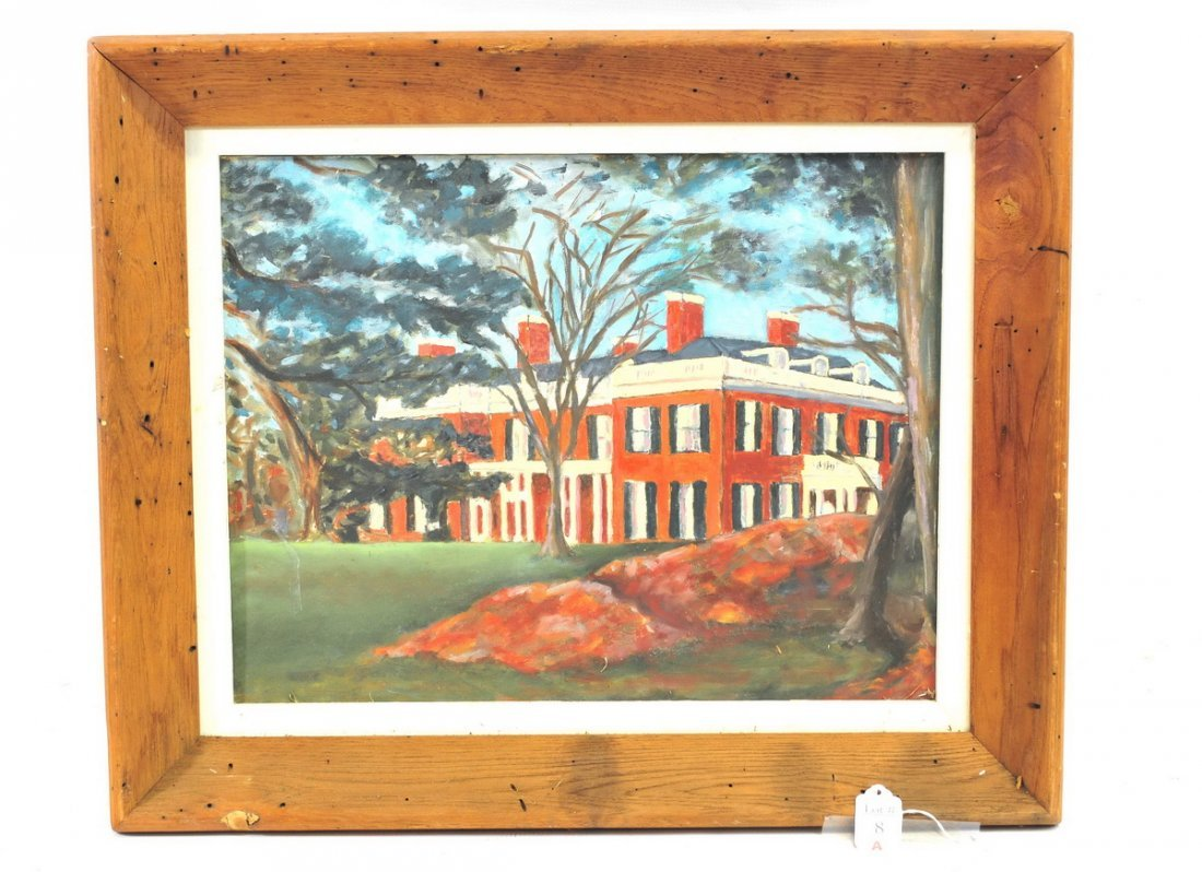 Oil on Board of a Brookline Massachusetts House
