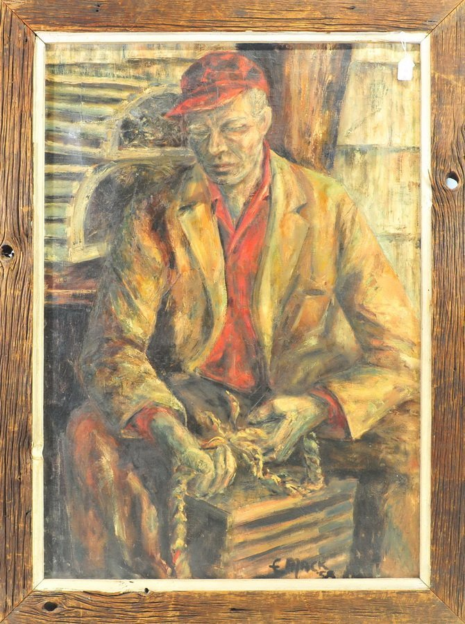Oil On Canvas of Maine Lobsterman by Mack
