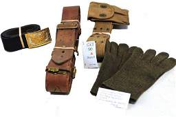 WWI and WWII Items Belts Gloves Etc