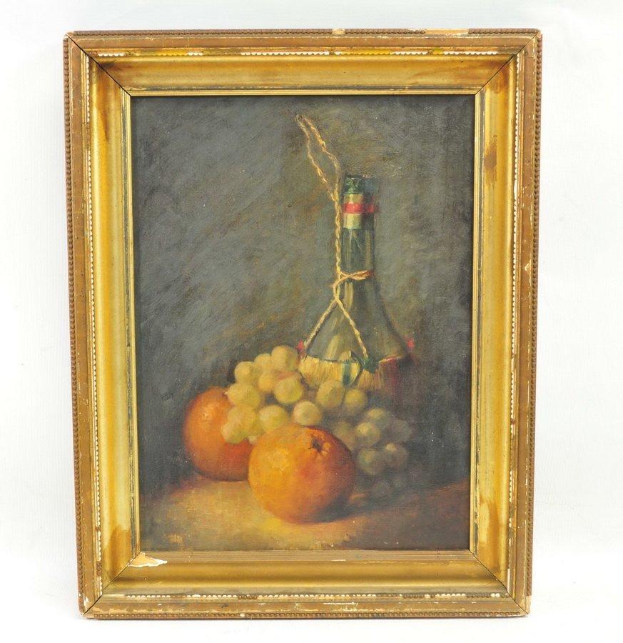Oil on Canvas Still Life Grapes/Wine