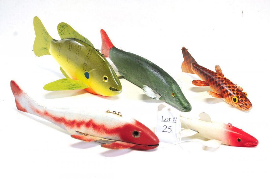 Five Vintage Ice Fishing Lures Some Hand Signed