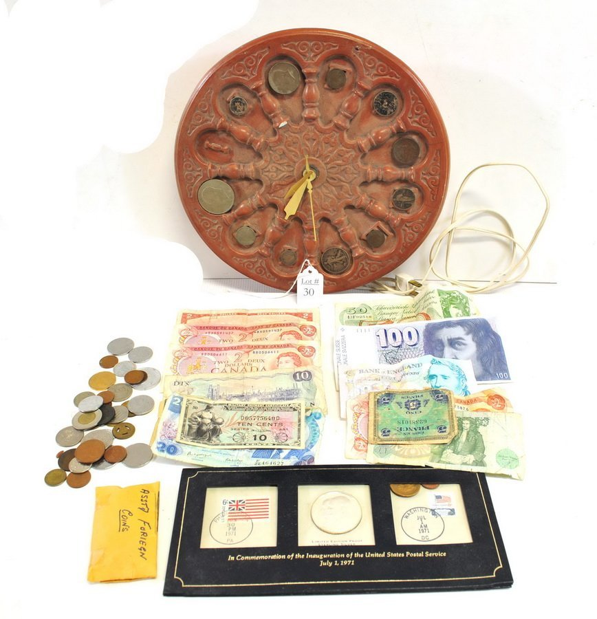 US and Foreign Coins/Currency/Coin Clock