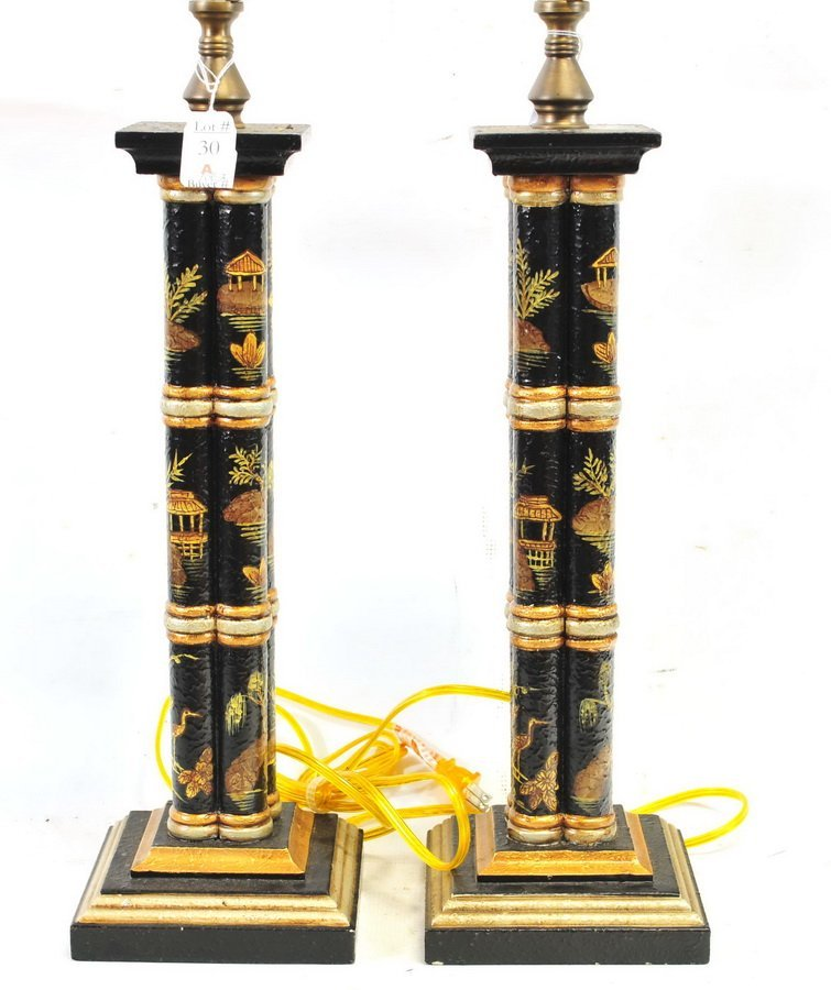 Pair of Vintage Asian Lamps - 2