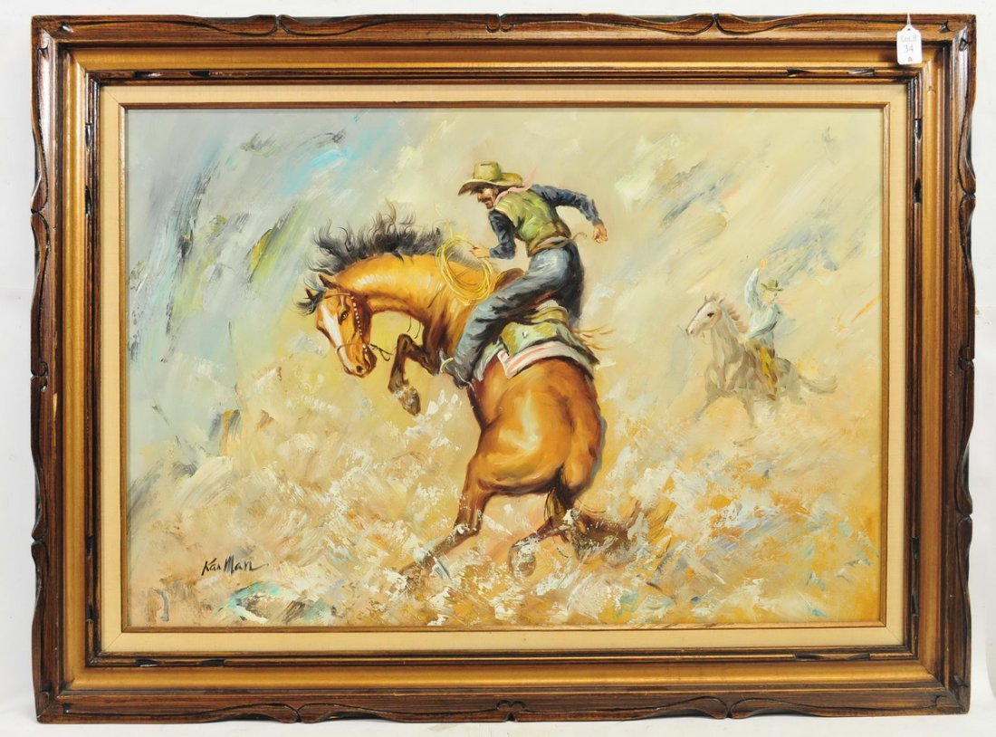 Oil On Canvas by Kanman of a Cowboy