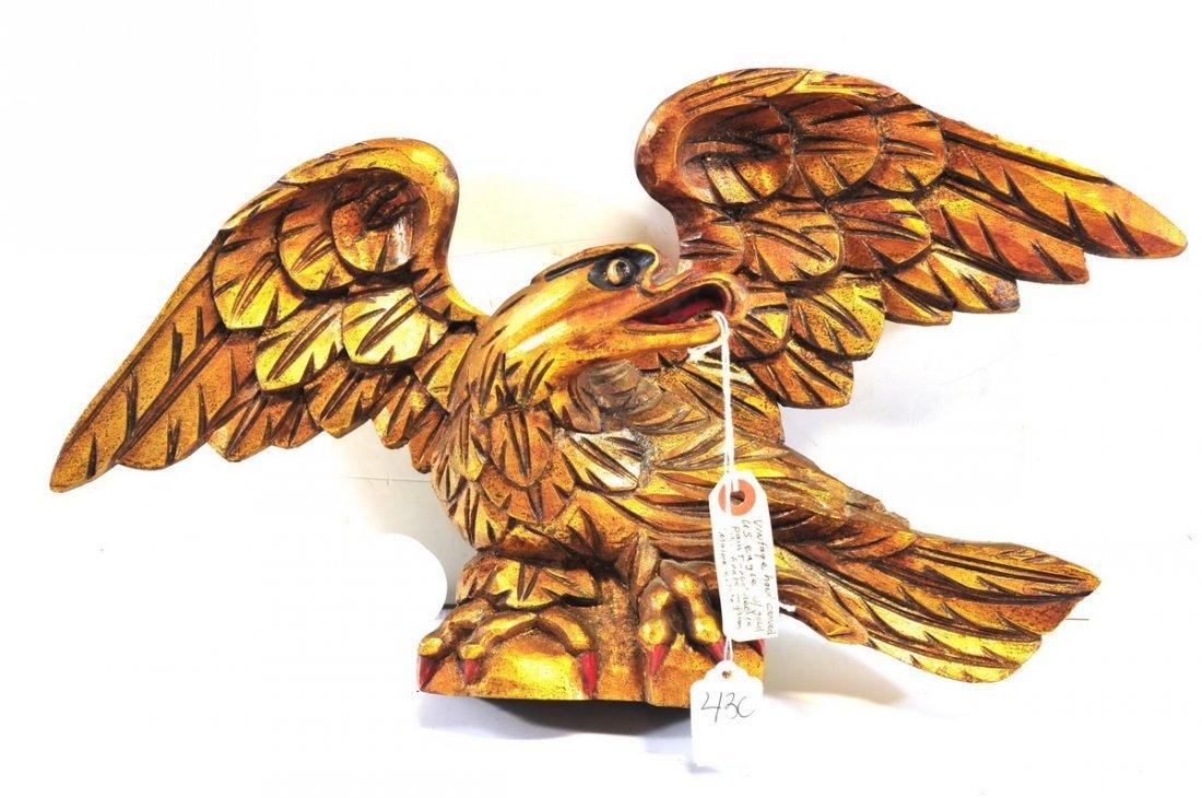 Vintage Hand Carved Eagle From Maine Estate