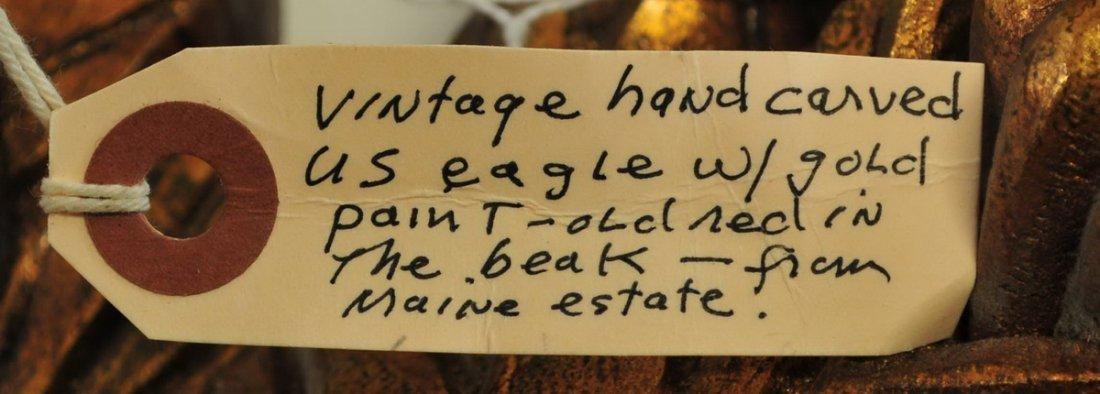 Vintage Hand Carved Eagle From Maine Estate - 3
