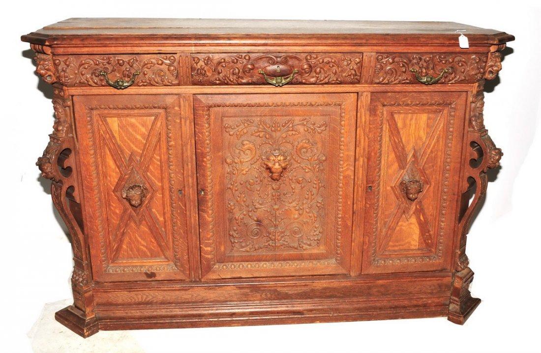 Excellent Antique Oak Table and Buffet - 3
