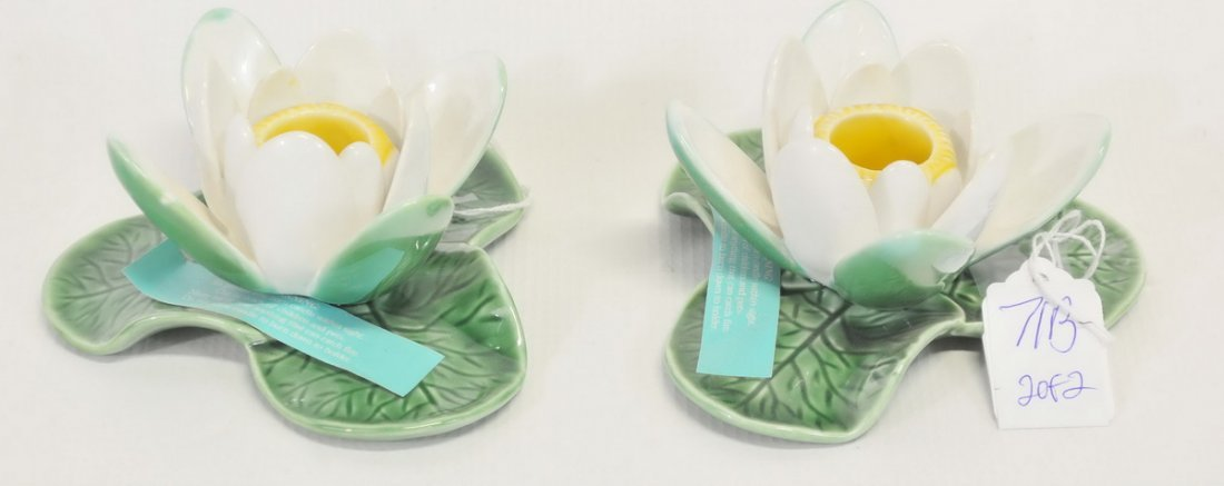 Pair of Tiffany And Company Ceramic Candle Holders