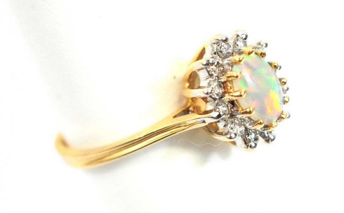 Ladies antique Opal 10K rose gold ring size 8 - 2