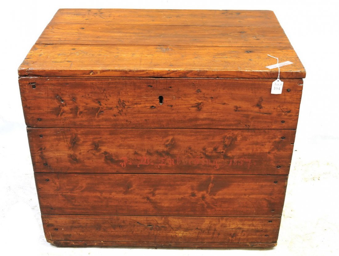 Antique Pine Lift Top Box dated 1857