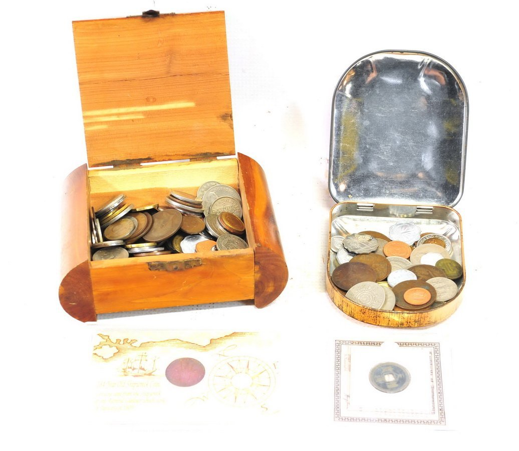 World Coin lot with coins & books - 2