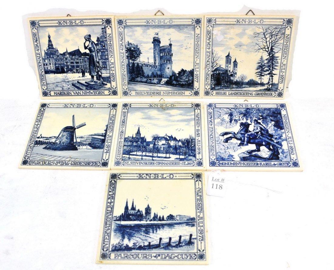 7 Delft Dutch Porcelain Tiles