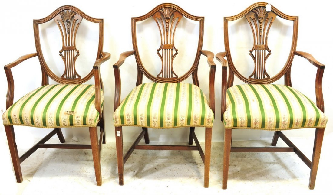 Six Antique Mahogany Shield Back Arm Chairs