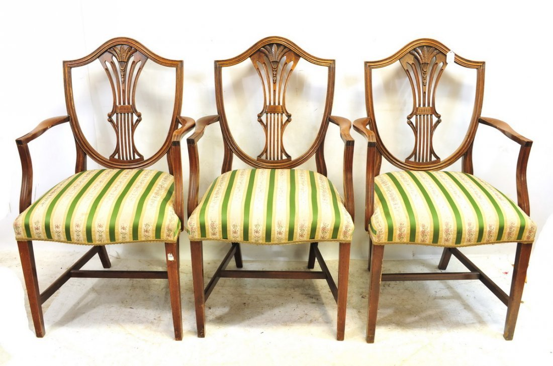 Six Antique Mahogany Shield Back Arm Chairs - 2