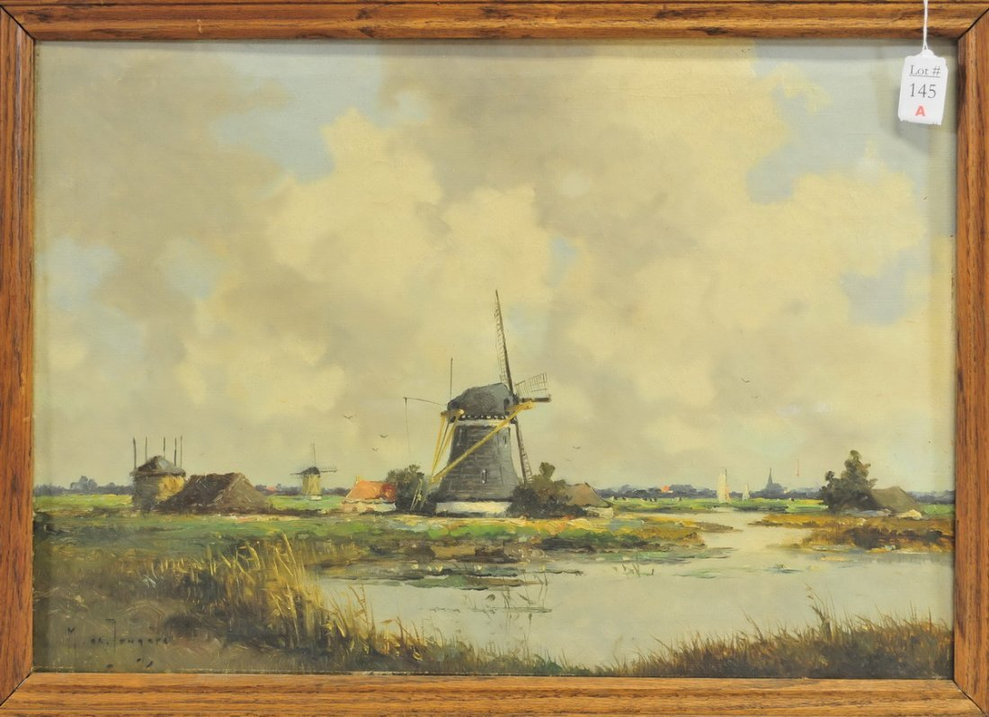 Oil On Canvas Dutch Scene by Marinus De Jangere