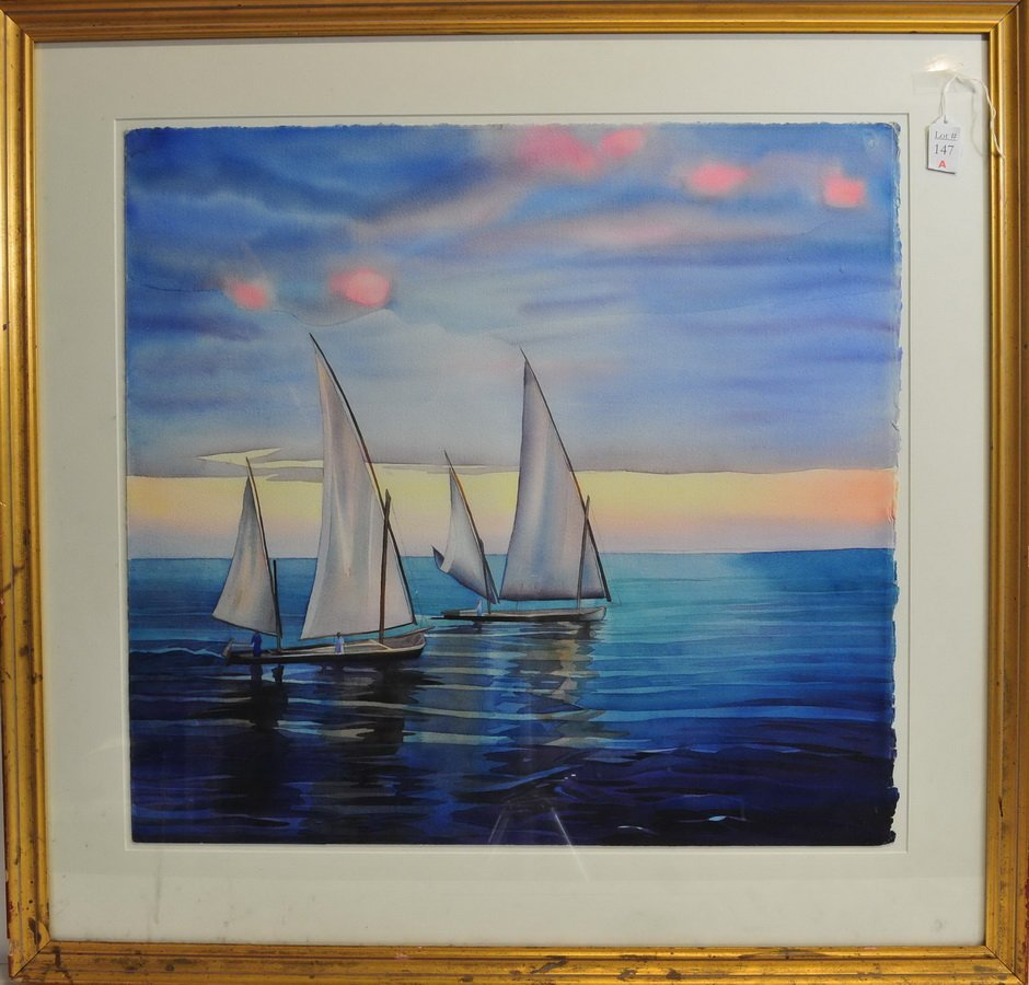 Watercolor on Paper Sailboats 27x25