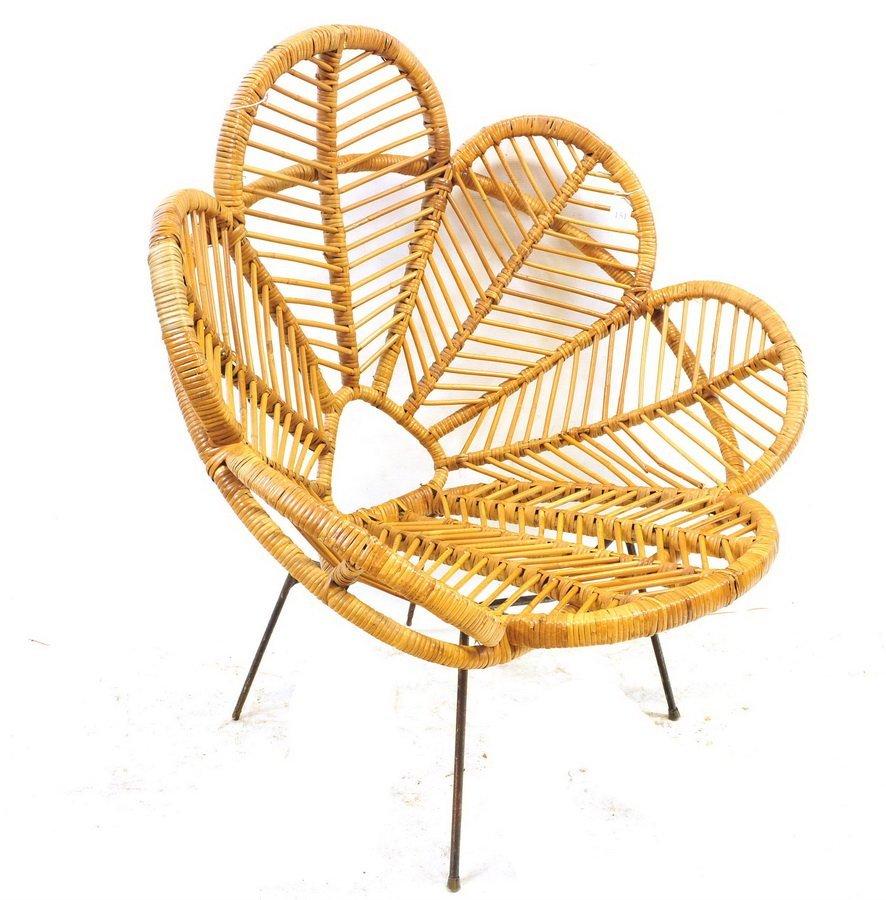 Mid Century Rattan Lounge Chair Floral Shape