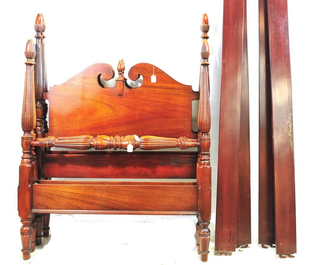 Two Vintage Mahogany Twin Size Poster Beds
