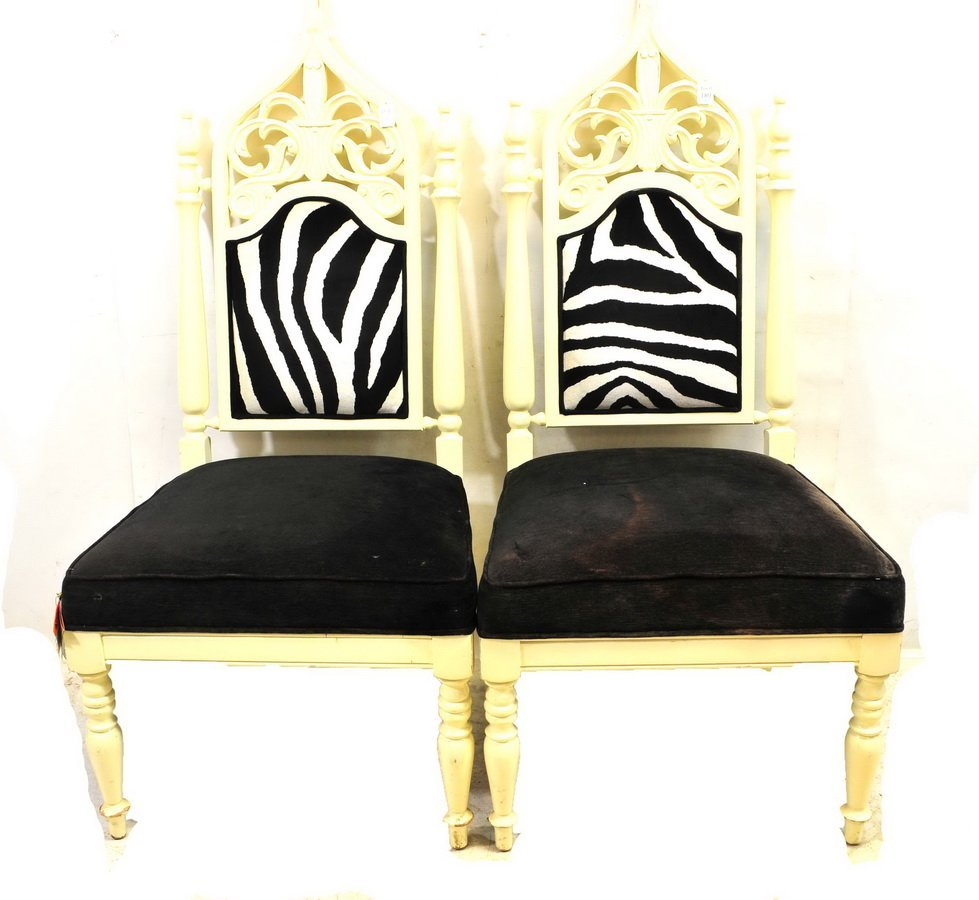 Pair of High back Upholstered Chairs Painted White