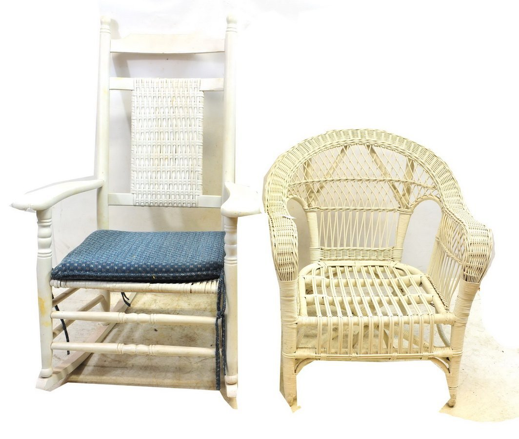 5 Pieces of White Furniture Wicker and More