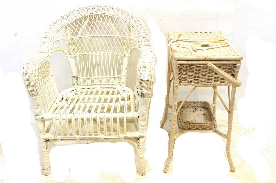 5 Pieces of White Furniture Wicker and More - 2