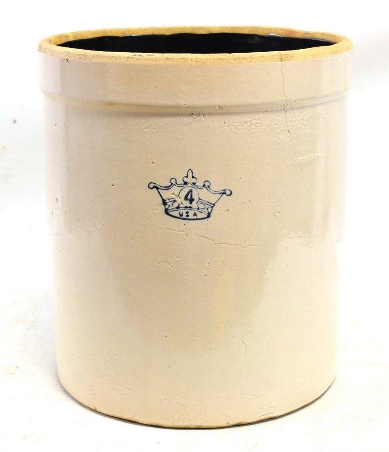 Four Antique Stoneware Crocks - 4