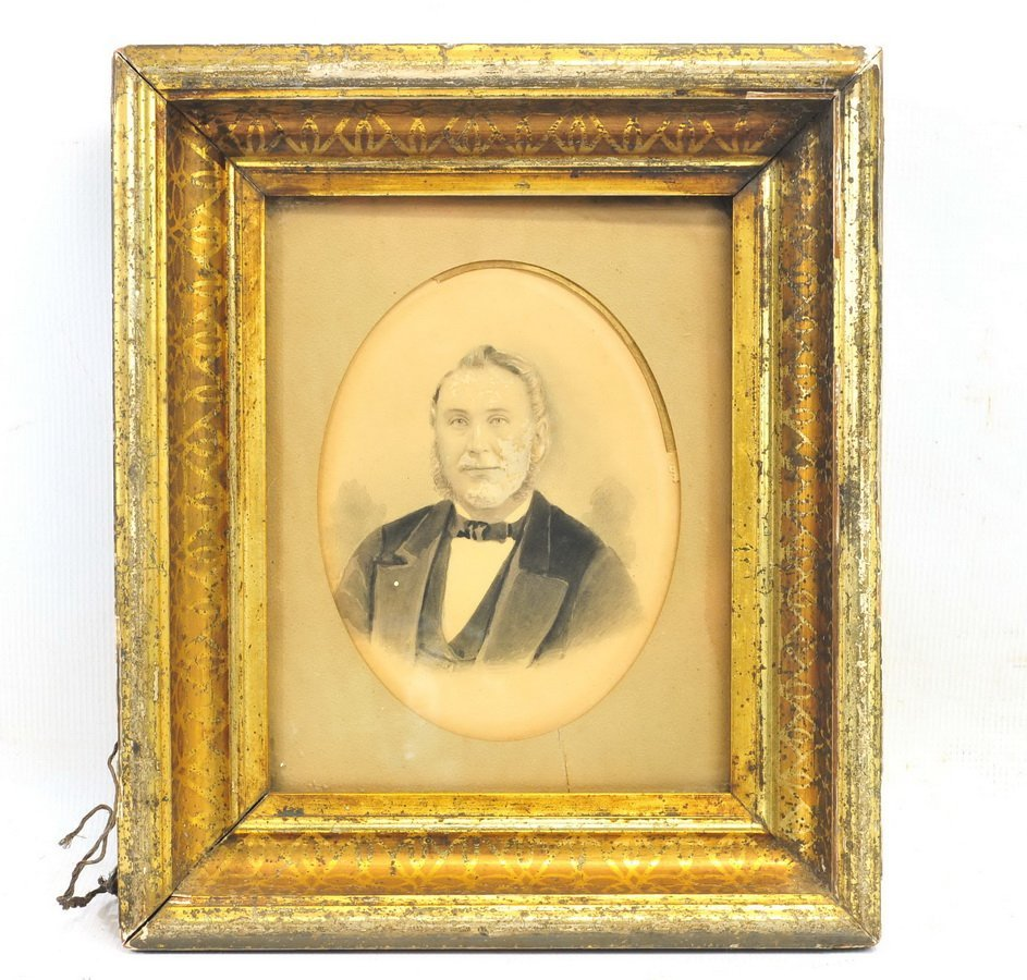 Antique Photo of a Gent in Old  Deep Gilt Frame