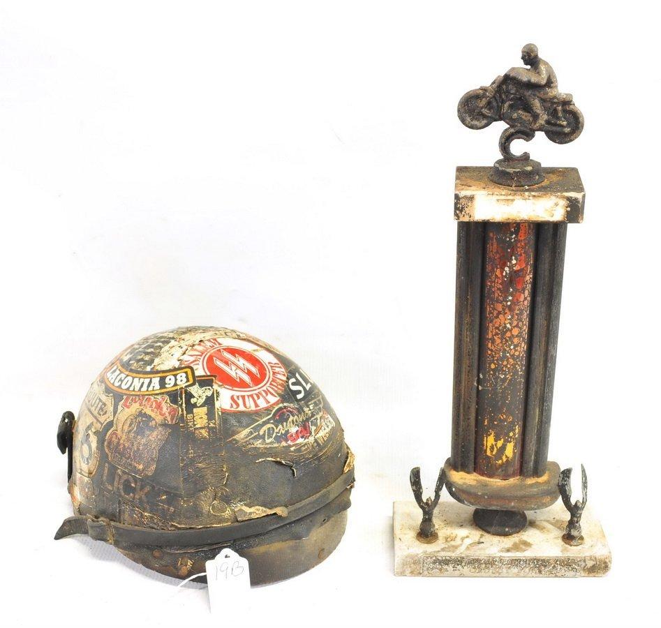 Vintage Motorcycle Helmet/Trophy