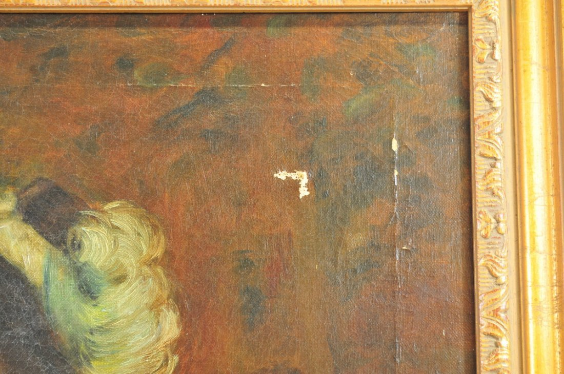Oil Canvas Young Girl on Fence Victorian - 3