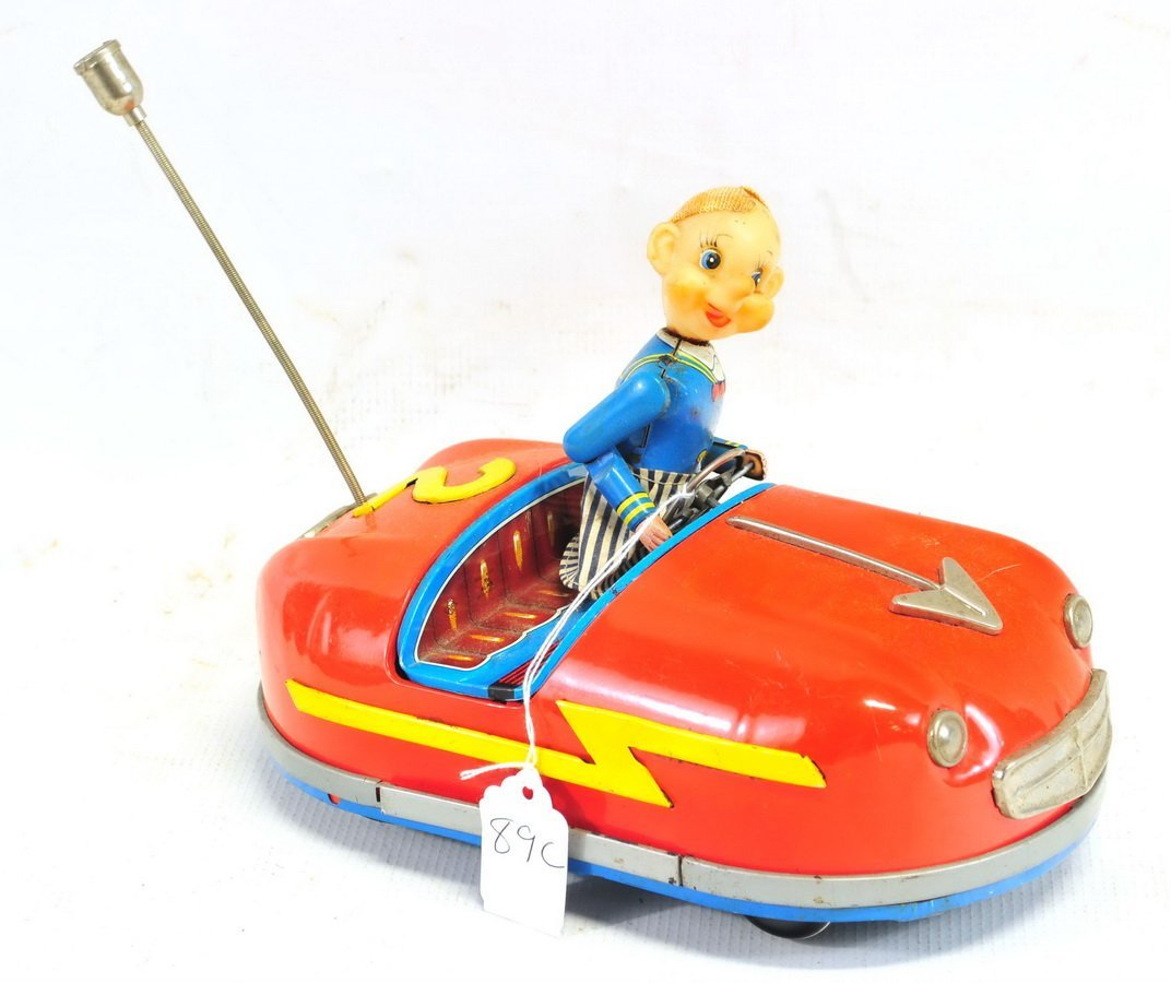 Tin Litho Battery Operated Bumper Car Toy