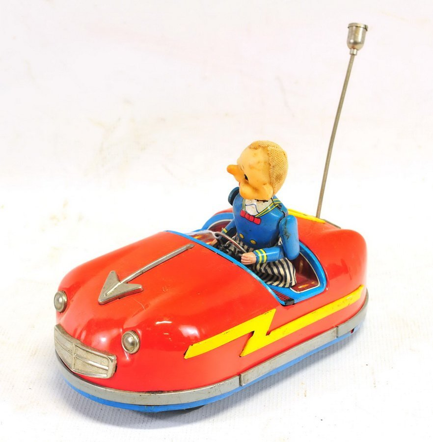 Tin Litho Battery Operated Bumper Car Toy - 2