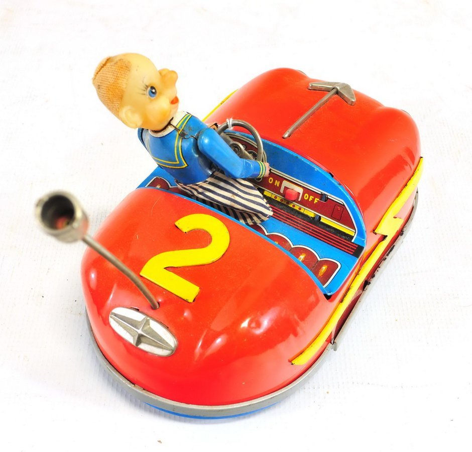 Tin Litho Battery Operated Bumper Car Toy - 3