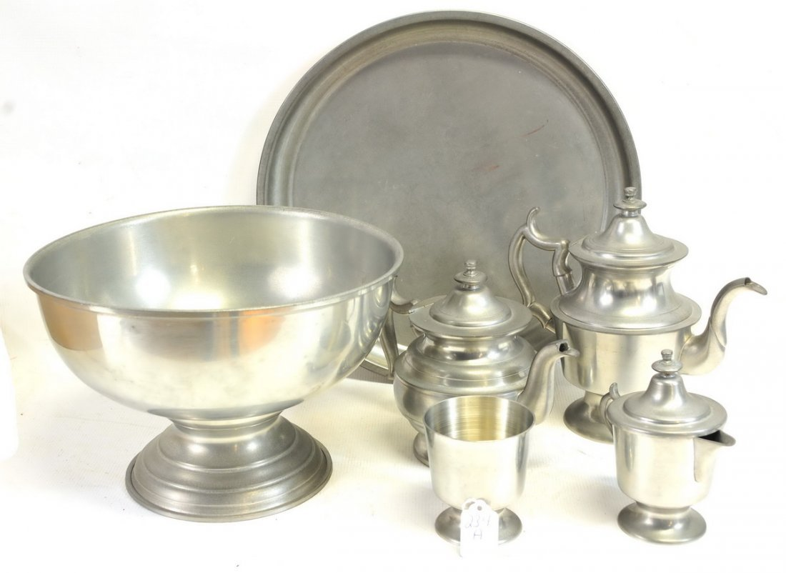 Seven piece set of Woodbury Pewterers