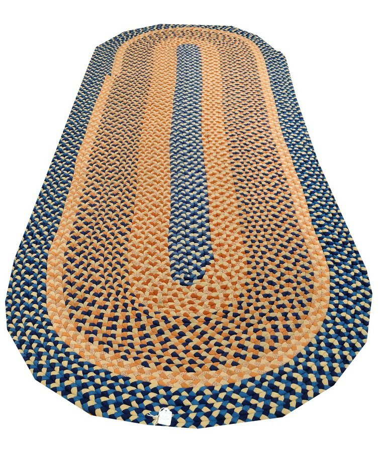 One multi colored braided rug