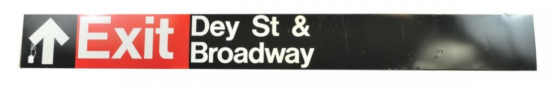 Antique Porcelain Subway Sign Dey St.Broadway