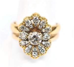 ladies 1 Ct. Diamond Ring 14Kt and 18Kt Gold