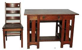 Antique Mission Oak Library Table with chair